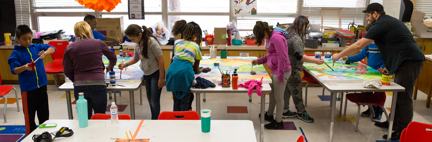 Madison Elementary School Students Painting in Classroom